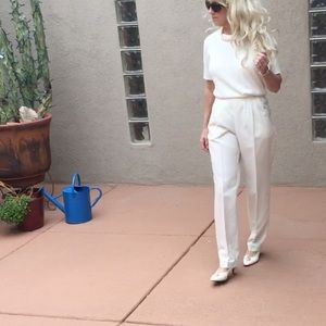 Vintage high waist pleated front white dress pants